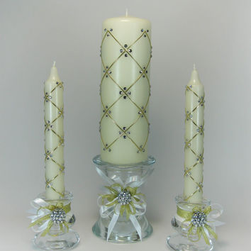 Wedding Unity Candles with 240 Swarovski Crystals, Pillar Candle, Taper Candles, Handmade Candles, Personalized Candles, Unity Candle Set
