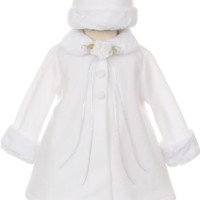 White Fleece & Fur Trim Dress Coat  with Matching Fur Trimmed Hat (Baby Girls)