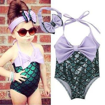 Little Mermaid Girls Swim Suit with Matching Bow
