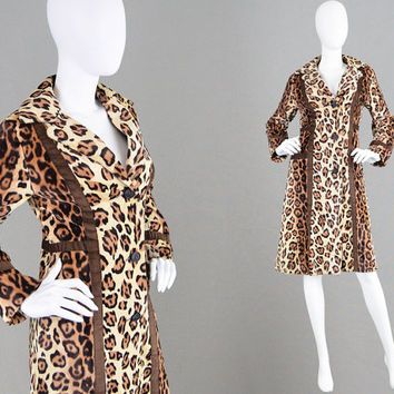 Vintage 60s 70s Faux Fur Coat ASTRAKA  Leopard Print Animal Print Mod Coat Fitted Coat Lightweight Jacket Vegan Fur Fake Fur Coat 1960s Coat