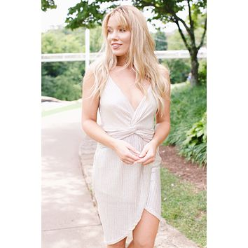 Metallic Knot Dress, Silver/Ivory