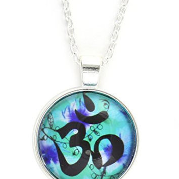 Om Symbol Necklace Silver Tone Aum NY44 Hindu Buddhist Yoga Vine Leaves Art Print Pendant Fashion Jewelry