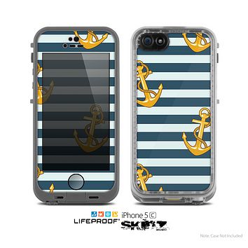 The Navy Striped with Gold Anchors Skin for the Apple iPhone 5c LifeProof Case