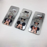 DCCKSV3 Cute Cartoon Mickey Mouse Mirror Phone Case for iPhone X 5se 6s 7 8 Plus Silicone Gel Soft Back Cover for Samsung Galaxy S8 Plus