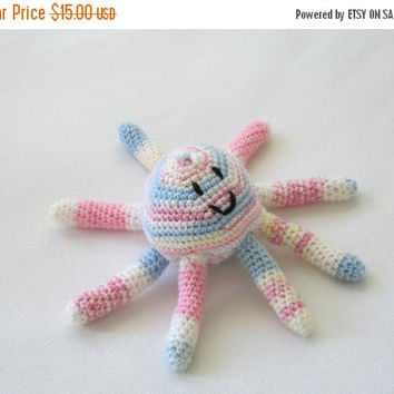 ON SALE - 10% OFF Crochet toy animal.. stuffed octopus ....soft safe baby toy