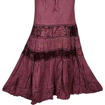 Mogul Womens Long Skirt Velvet Touch Maroon Tiered Bohemian Festive Skirts