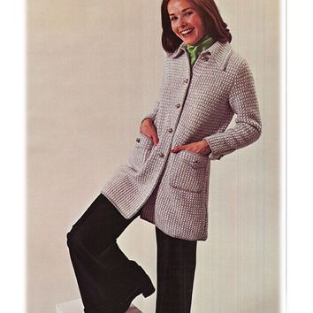 Knitting CARDIGAN Pattern Vintage 70s Knitted Coat Pattern Jacket Pattern Sweater Pattern Instant Download
