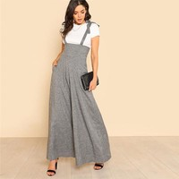 Self Tie Strap Wide Leg Jumpsuit Grey Sleeveless High Waist Office Ladies Workwear Jumpsuit Women Elegant Jumpsuit