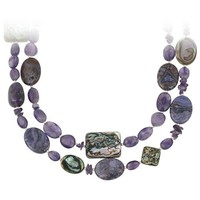 """Sterling Silver Bead, Amethyst, Abalone and Purple Crazy Lace Agate 2-Row Necklace, 16+3"""""""