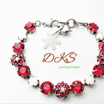 Swarovski Bracelet, Poinsetta, Red, Flower, 8mm, Antique silver, Christmas, Holiday, DKSJewelrydesigns, FREE SHIPPING
