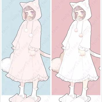 Kawaii Cat Ears & Tail Nightgown