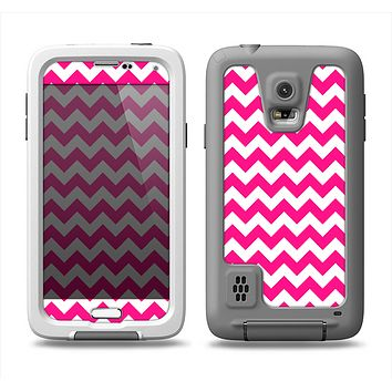 The Pink & White Chevron Pattern Samsung Galaxy S5 LifeProof Fre Case Skin Set