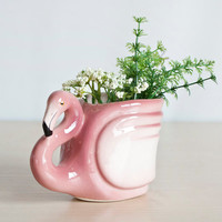 Small Vintage Pink Flamingo Vase or Pencil Cup, 1950's Flamingo Shaped Planter