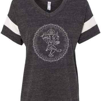 Womens Yoga T-shirt Circle Ganesha White Print Eco-Friendly V-neck