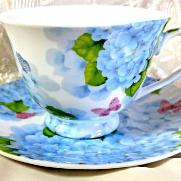 Blue Butterfly Porcelain Teacups Set of 6 Tea Cups Cheap Price Elegant Look! Add Another Set for FREE SHIPPING over $49!