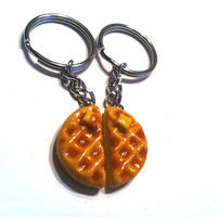 Polymer Clay Waffle Halves Key Chains, Best Friends BFF Food Accessories