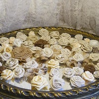 Bulk SALE Lot of 60 Burlap & Fabric Flowers, natural tones. Ready to Ship!