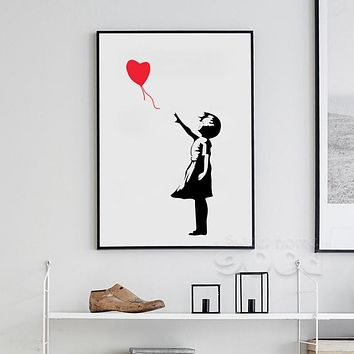 Banksy Ballon Girl Canvas Art Print Painting Poster, Wall Pictures For Home Decoration, Frame not include 156