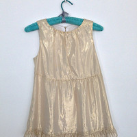 1950s Blouse / Gold Champagne / 50s 60s 1960s / Jackie O / Size Small S