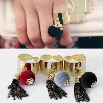 Stylish Jewelry Shiny Gift New Arrival Korean Accessory Tassels Alloy Resin Strong Character Ring [6586144583]