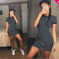 [ On Sale ] 2016 Summer Beach Holiday Stripes Printed Round Necked Short Sleeve Casual Party Playsuit Clubwear Bodycon Boho Dress