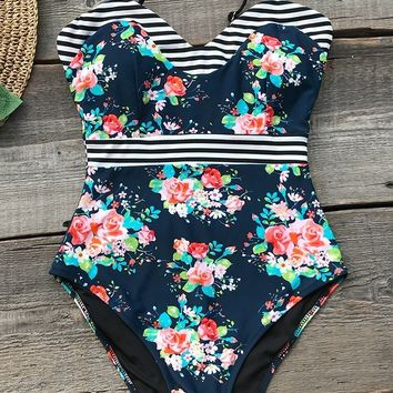 Cupshe Rose Garden Print One-piece Swimsuit
