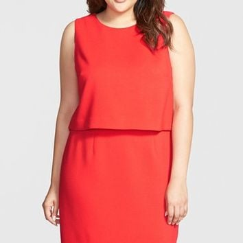 Plus Size Women's Eliza J Crepe Popover Dress