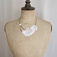 White lace necklace floral design | StitchesFromTheHeart - Wedding on ArtFire