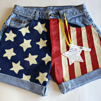 PRE SUMMER SALE / Custom Size / American Flag High Waisted Shorts / Painted / usa Shorts / Patriotic Clothing / Made to Order