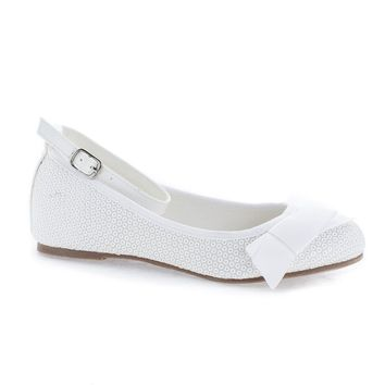 Bahama White Sequins Children's Toddler Bow Slip On Ankle Cuff Sequins Flats