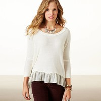 AE Chiffon Ruffle Sweater | American Eagle Outfitters