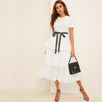 Elegant Contrast Tie Waist Layered Ruffle High Waist Long Dress Women Solid Office Lady A Line Party Dresses