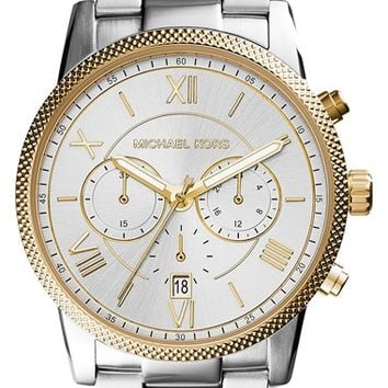 Men's Michael Kors 'Hawthorne' Chronograph Bracelet Watch, 42mm - Silver/ Gold