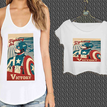 captain america retro poster For Woman Tank Top , Man Tank Top / Crop Shirt, Sexy Shirt,Cropped Shirt,Crop Tshirt Women,Crop Shirt Women S, M, L, XL, 2XL**
