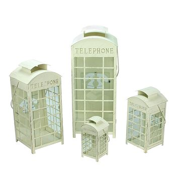 "Set of 4 Weathered Cream and Gold Telephone Booth Glass Pillar Candle Lanterns 8.75"" - 25"""