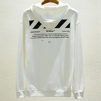 OFF-WHITE autumn and winter new 01 double line basic models couple loose hooded sweater White