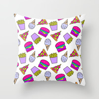 JUNKY BREWSTER Throw Pillow by Cartoon Pizza