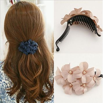 Trendy Handmade Flower Banana Crab Hair Clip  Claws Elegant Hair Ornaments Women Hair Accessory Kids Girl Hairgrip Hairclip