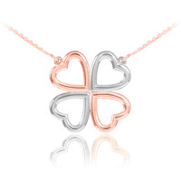 14K Rose and White Gold Four-Leaf Heart Clover Necklace