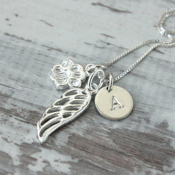 Pet loss necklace, sterling silver, pet remembrance jewelry, pet paw, guardian angel wing, initial charm on a chain, love pet necklace
