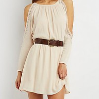 COLD SHOULDER CROCHET-TRIM DRESS
