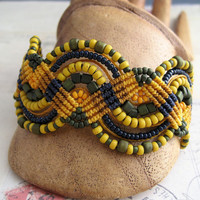 Mustard, Ginger, Nutmeg Beaded Macrame Bracelet Navy and Mustard Palette