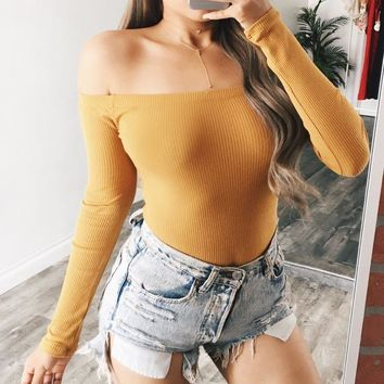 NEW Women Long Sleeve Sexy Off Shoulder Bodysuit One-Piece Bodycon Women Overalls Skinny Bodysuits WS1991E