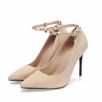 Ankle Strap Shoes Woman Rivets Pumps Women Sexy High Heels Shoes Point Toe Black Shoes Dress Ladies Shoes