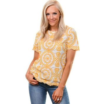 Mustard Embroidered Scalloped SS Blouse