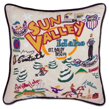 Ski Sun Valley Hand Embroidered Pillow