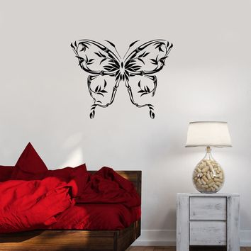 Wall Decal Butterfly Bamboo Silhouette Pattern Abstraction Plants Vinyl Sticker (ed1129)