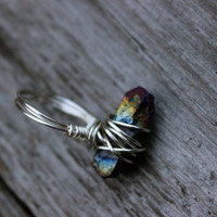 Rainbow aura quartz ring, wire wrap silver beautiful colorful healing stone