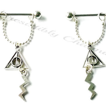 Nipple or cartilage barbell piercings Deathly Hallows and Lightning bolt Harry Potter inspired 14 gauge stainless steel