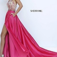 Paisley Beaded Illusion Halter Long Prom Dress by Sherri Hill